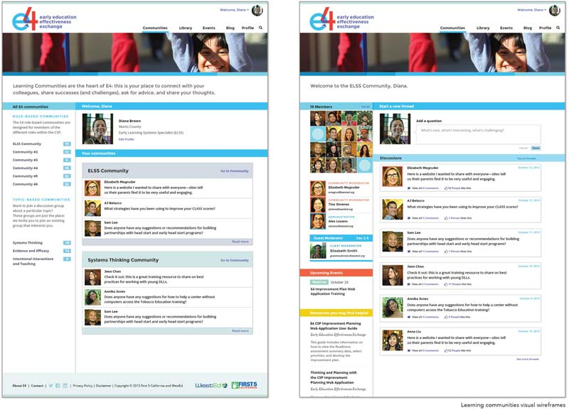 The E4 learning communities section of the site